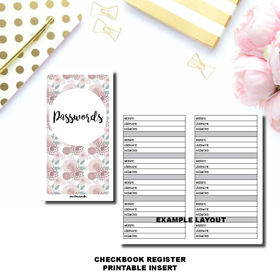 A6 TN SIZED | PASSWORD Printable Travelers Notebook Insert ©