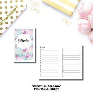 CAHIER TN Size | Perpetual Calendar Printable Insert ©