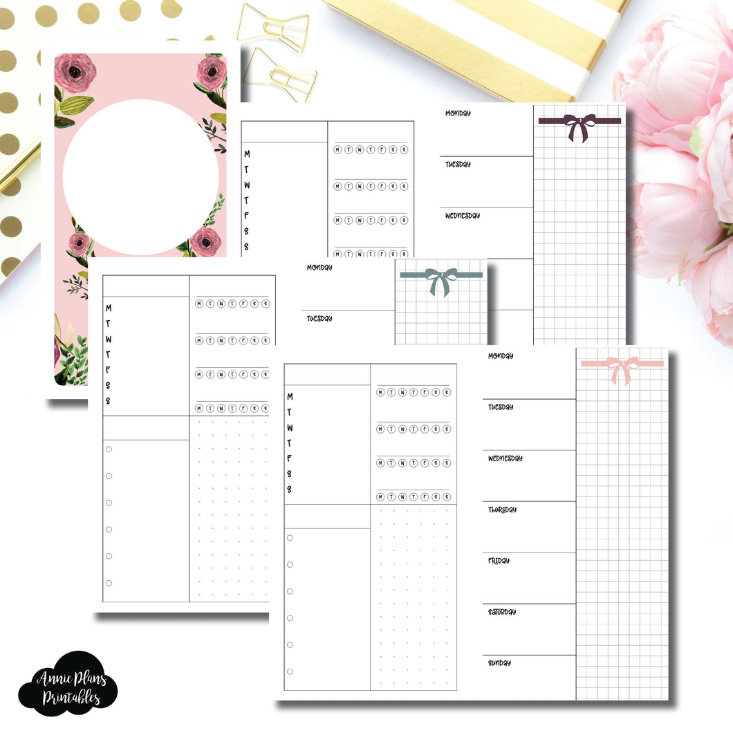 Personal TN Size | Undated Week on 2 Page Layout Printable Insert ©
