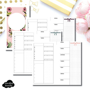 Personal Rings Size | Undated Week on 2 Page Layout Printable Insert ©