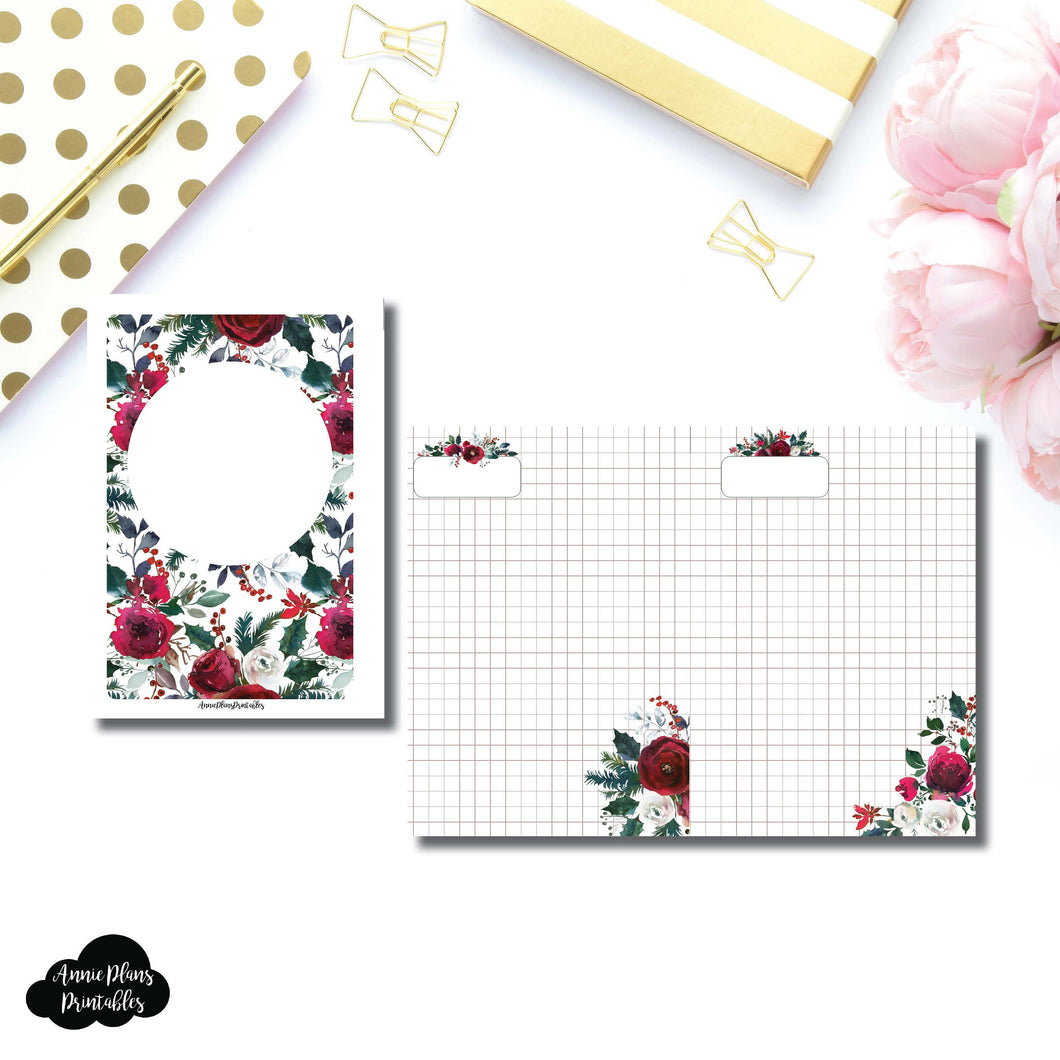 Personal Wide Rings Size | Holiday Floral Grid Printable Insert ©