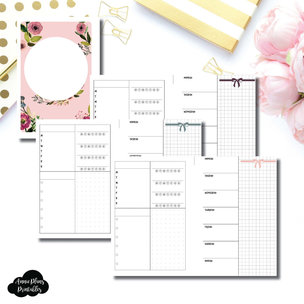 Personal Wide Rings Size | Undated Week on 2 Page Layout Printable Insert ©