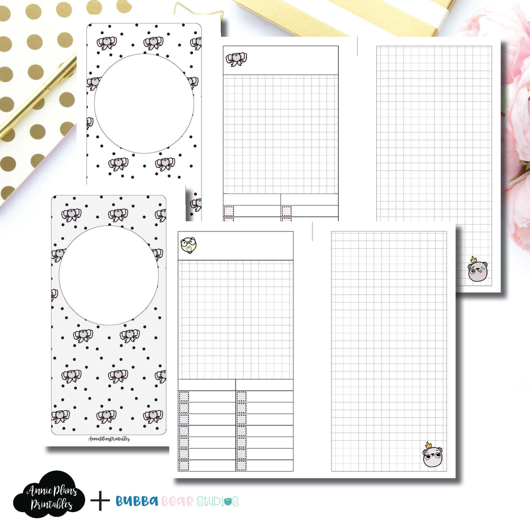 PERSONAL RINGS Size | Undated Day on 2 Page or Project Bubba Bear Studios Collaboration Printable Insert