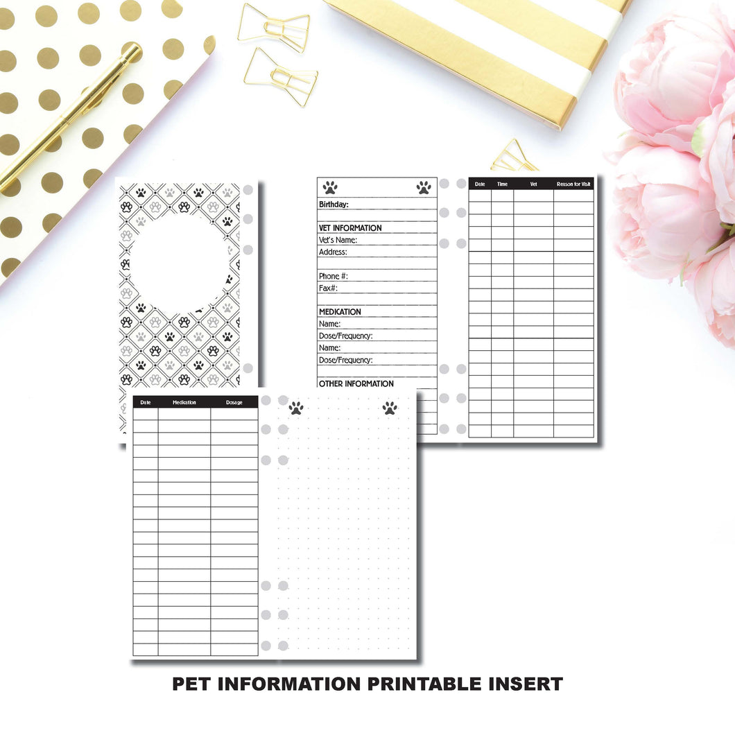 Personal Rings Size: Pet Information Printable Insert ©