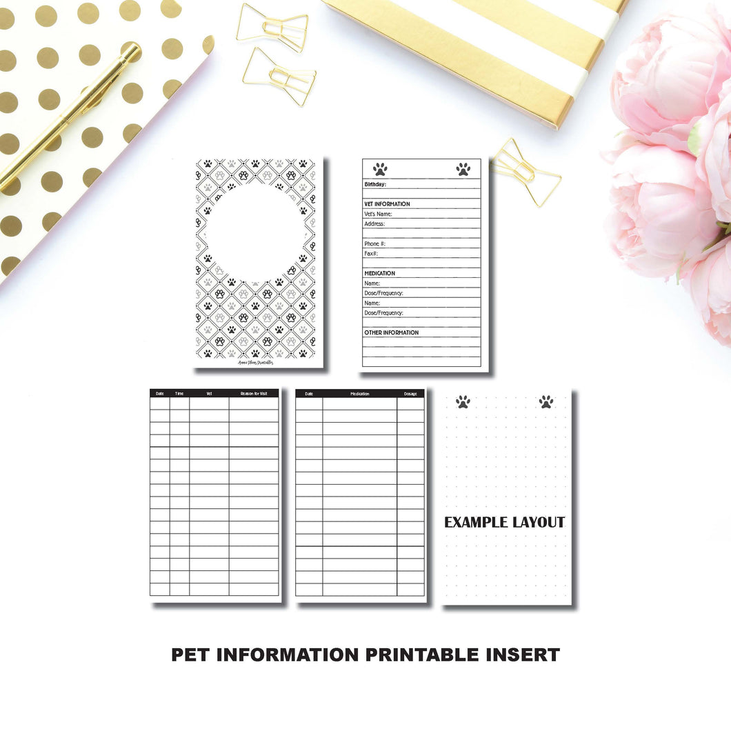 Personal TN Size: Pet Information Printable TN Insert ©