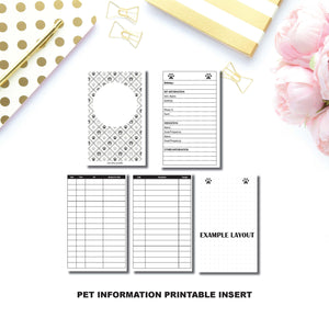 Personal Wide Rings Size: Pet Information Printable Insert ©