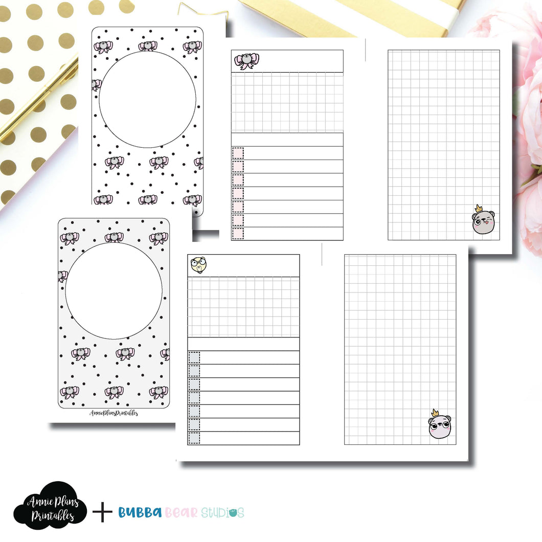 POCKET RINGS Size | Undated Day on 2 Page or Project Bubba Bear Studios Collaboration Printable Insert ©