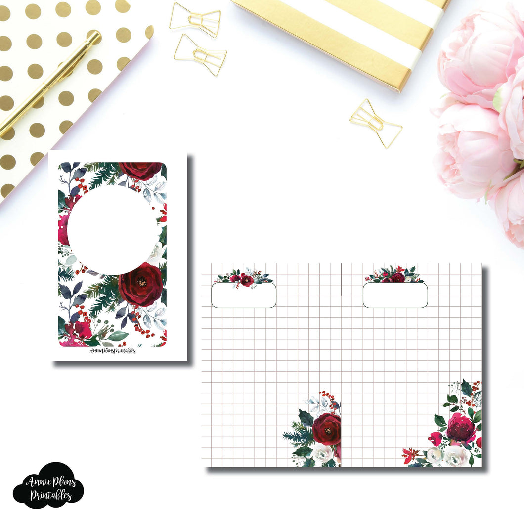 Pocket Rings Size | Holiday Floral Grid Printable Insert ©