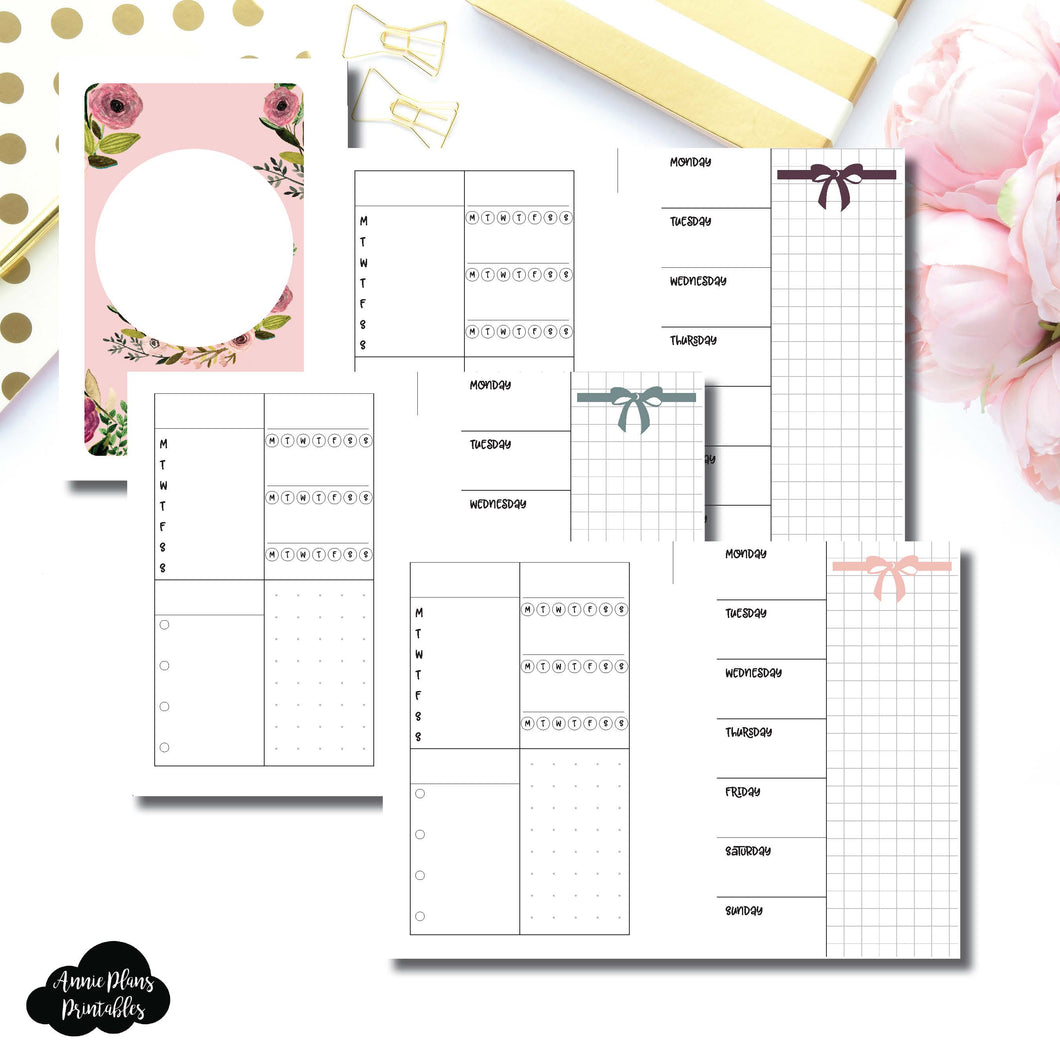 Pocket Rings Size | Undated Week on 2 Page Layout Printable Insert ©