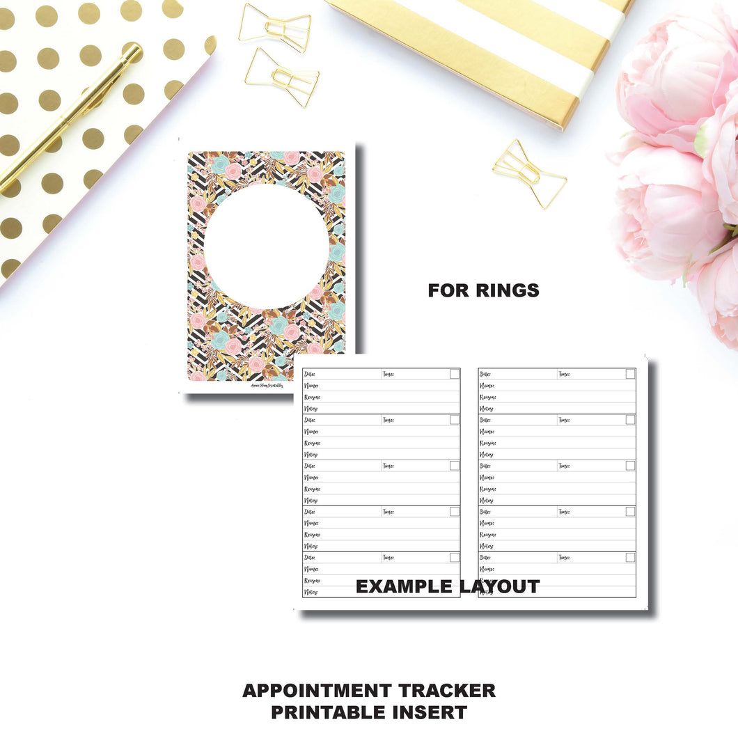Half Letter Rings Size | Appointment Tracker Printable Insert ©
