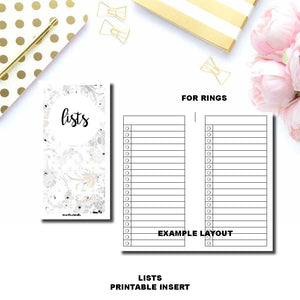 PERSONAL WIDE RINGS SIZE | Lists Printable Insert ©