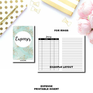 PERSONAL RINGS Size | Monthly Expense Tracker Printable Insert ©