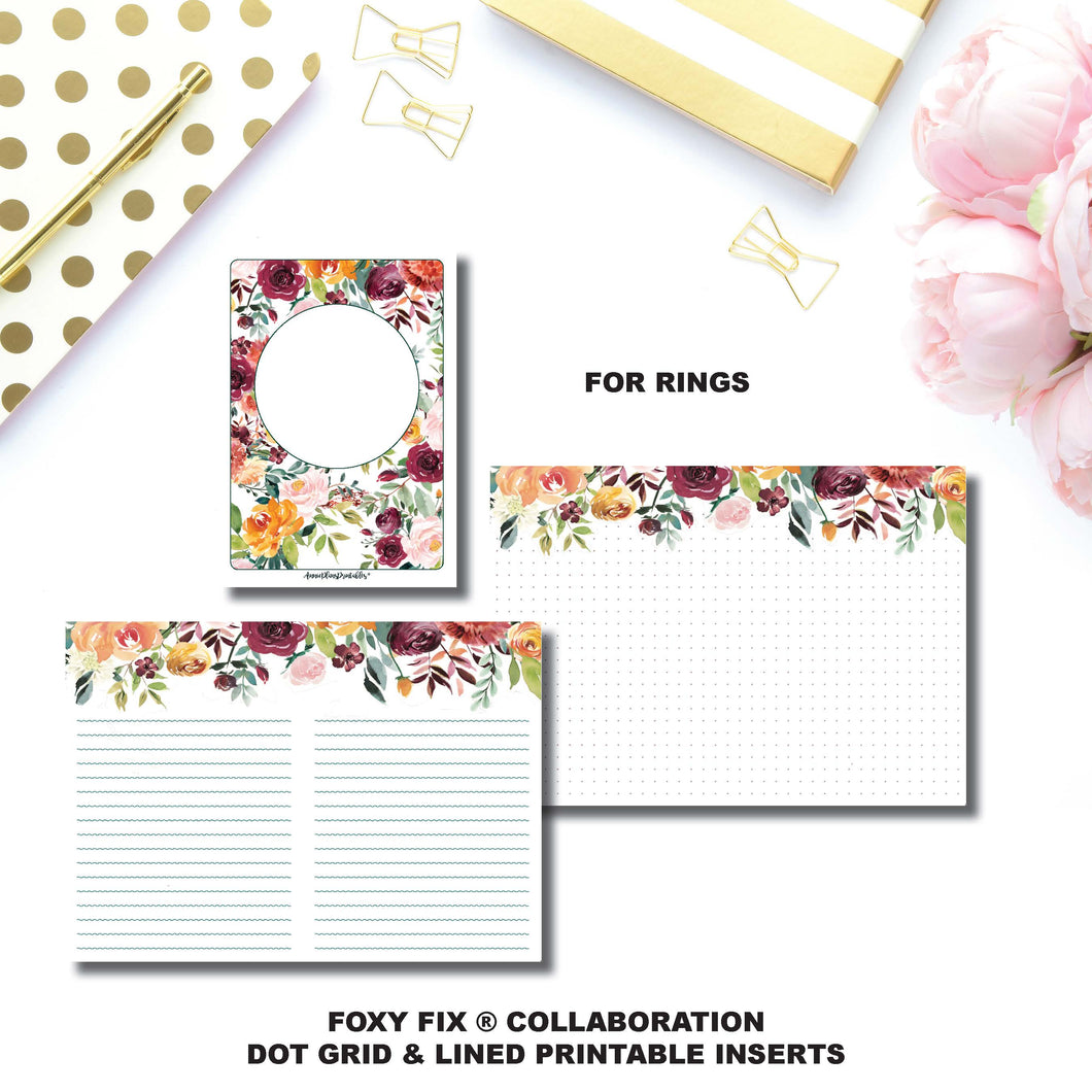 Personal Wide Rings Size | Foxy Fix® Autumn Rose Collaboration Dot Grid & Lined Printable Inserts ©