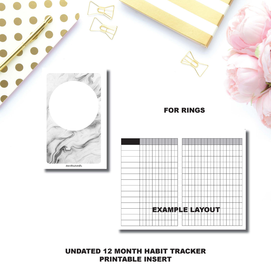 HALF LETTER RINGS Size | Undated 12 Month Habit Tracker Printable Insert ©