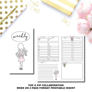 STANDARD TN Size | FOX&PIP Collaboration - Week on 2 Page Printable Insert ©