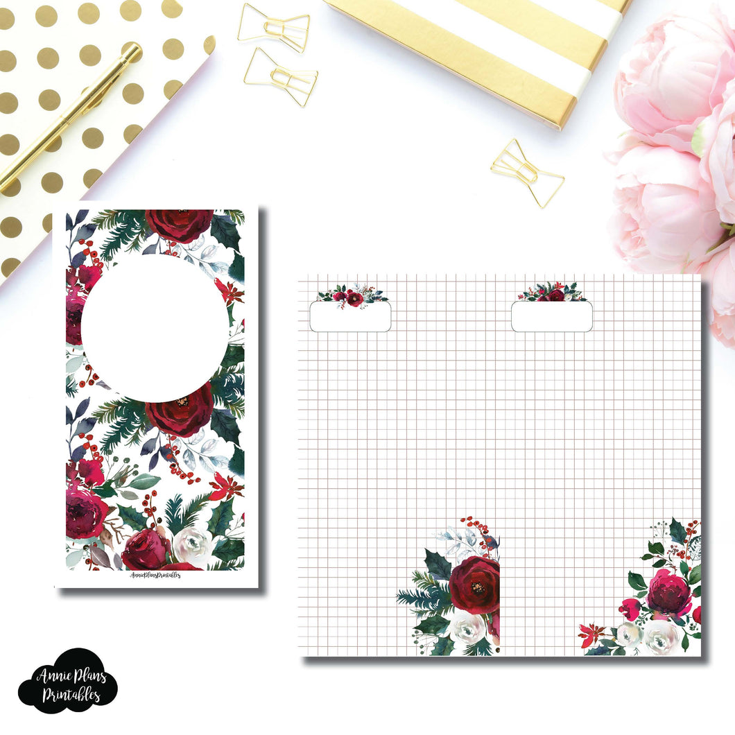 Standard TN Size | Holiday Floral Grid Printable Insert ©