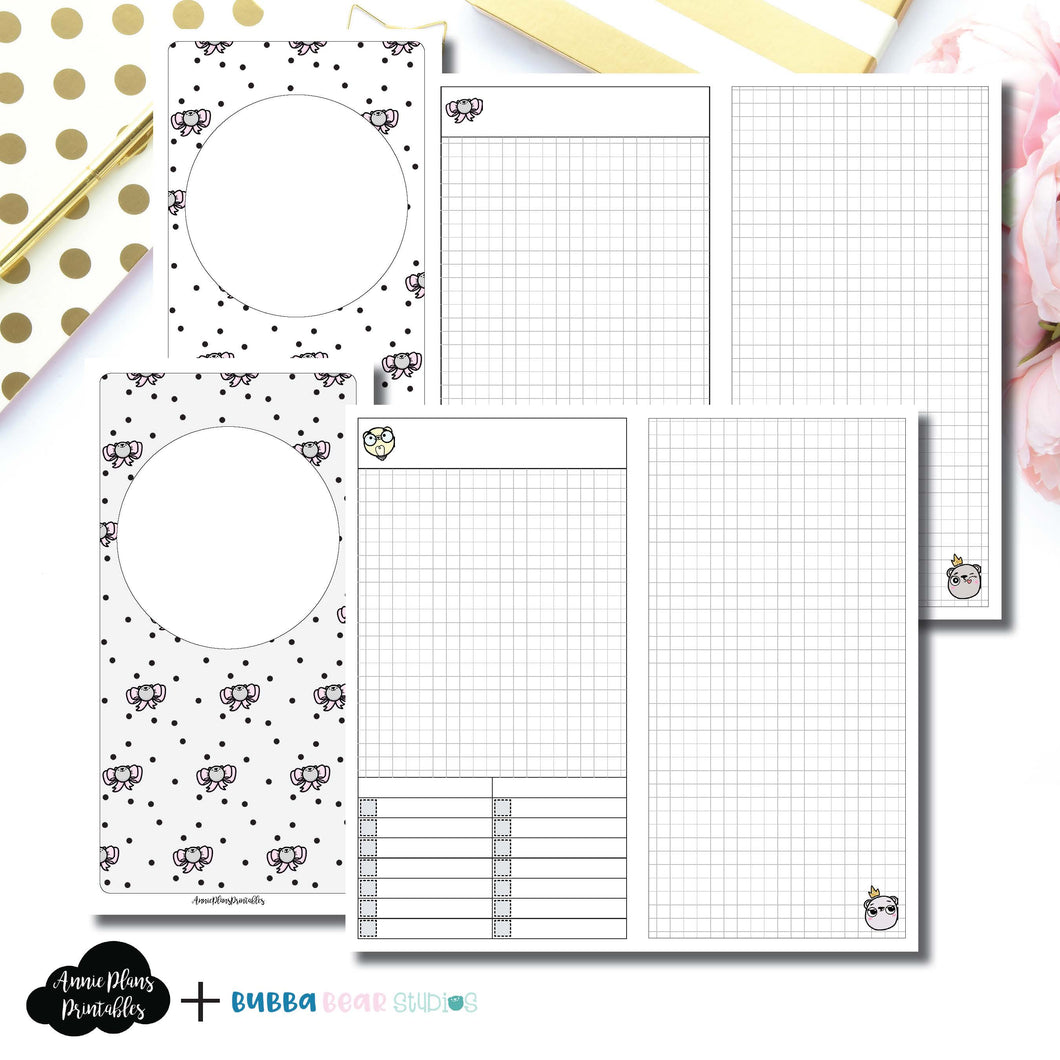 STANDARD TN Size | Undated Day on 2 Page or Project Bubba Bear Studios Collaboration Printable Insert ©