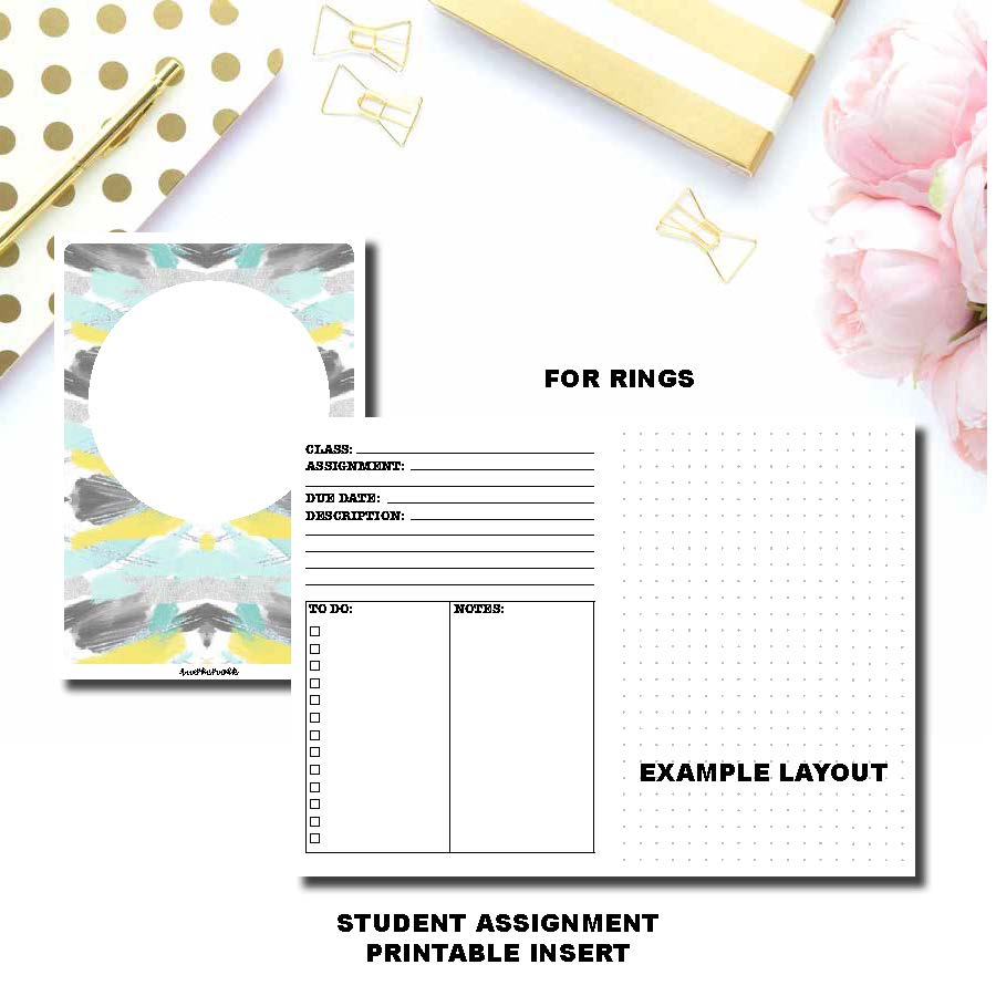 Half Letter Rings Size | Student Assignment Printable Insert ©