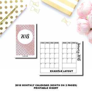 PASSPORT TN Size  | 2018 Monthly Calendar (SUNDAY Start) PRINTABLE INSERT ©
