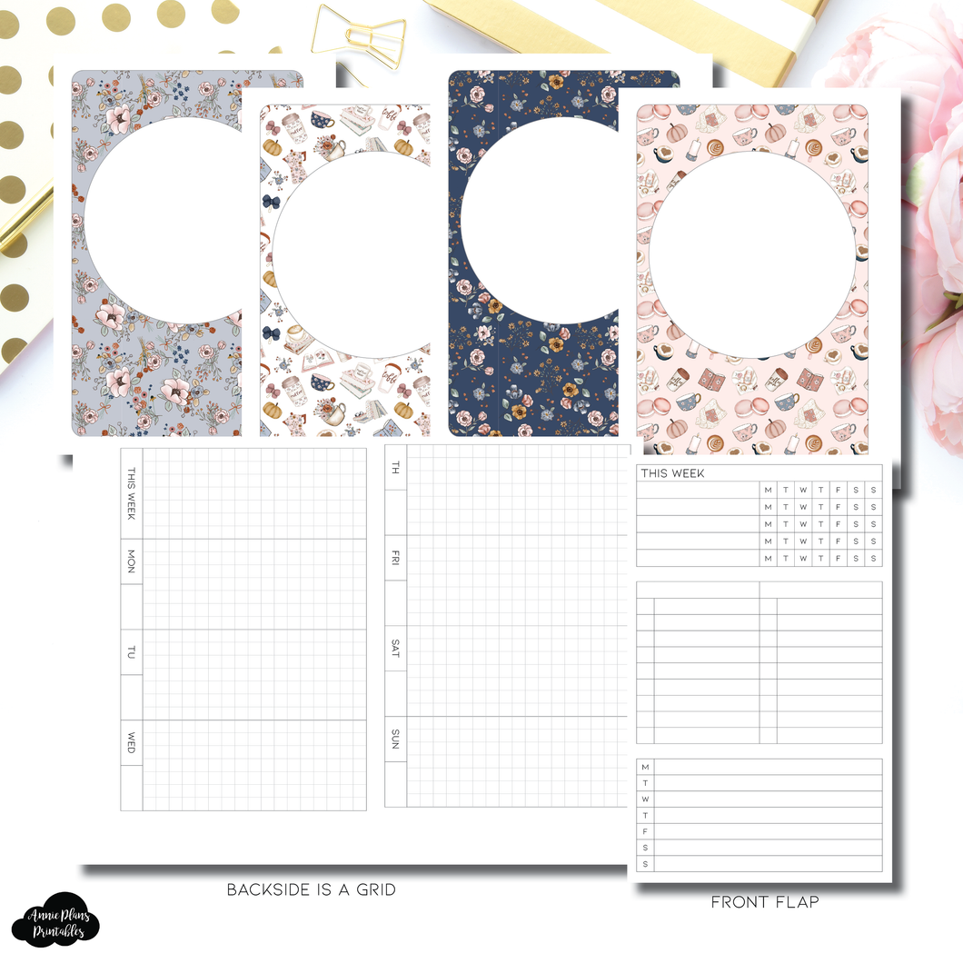 A6 Rings Size | Horizontal Undated Weekly Fold Over for Rings Printable Insert
