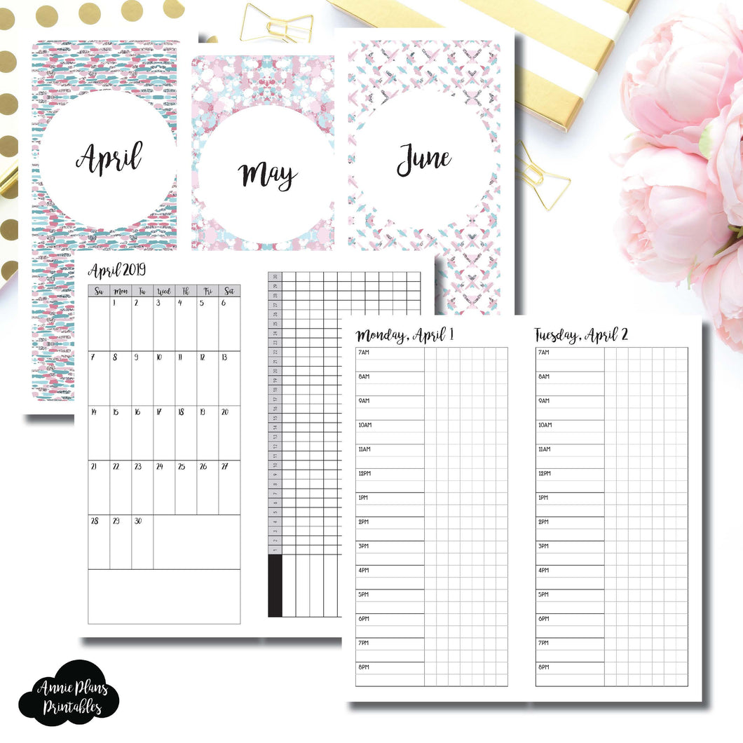 H Weeks Size | 2019 APR - JUN | FULL Month Daily TIMED | Printable Insert ©