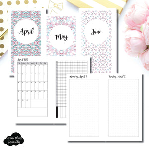 Personal Rings Size | 2019 APR - JUN | FULL Month Daily DOT GRID | Printable Insert ©