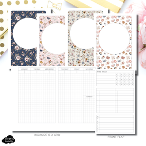 A6 Rings Size | Vertical Undated Weekly Fold Over for Rings Printable Insert