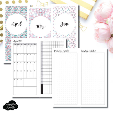 H Weeks Size | 2019 APR - JUN | FULL Month Daily DOT GRID | Printable Insert ©