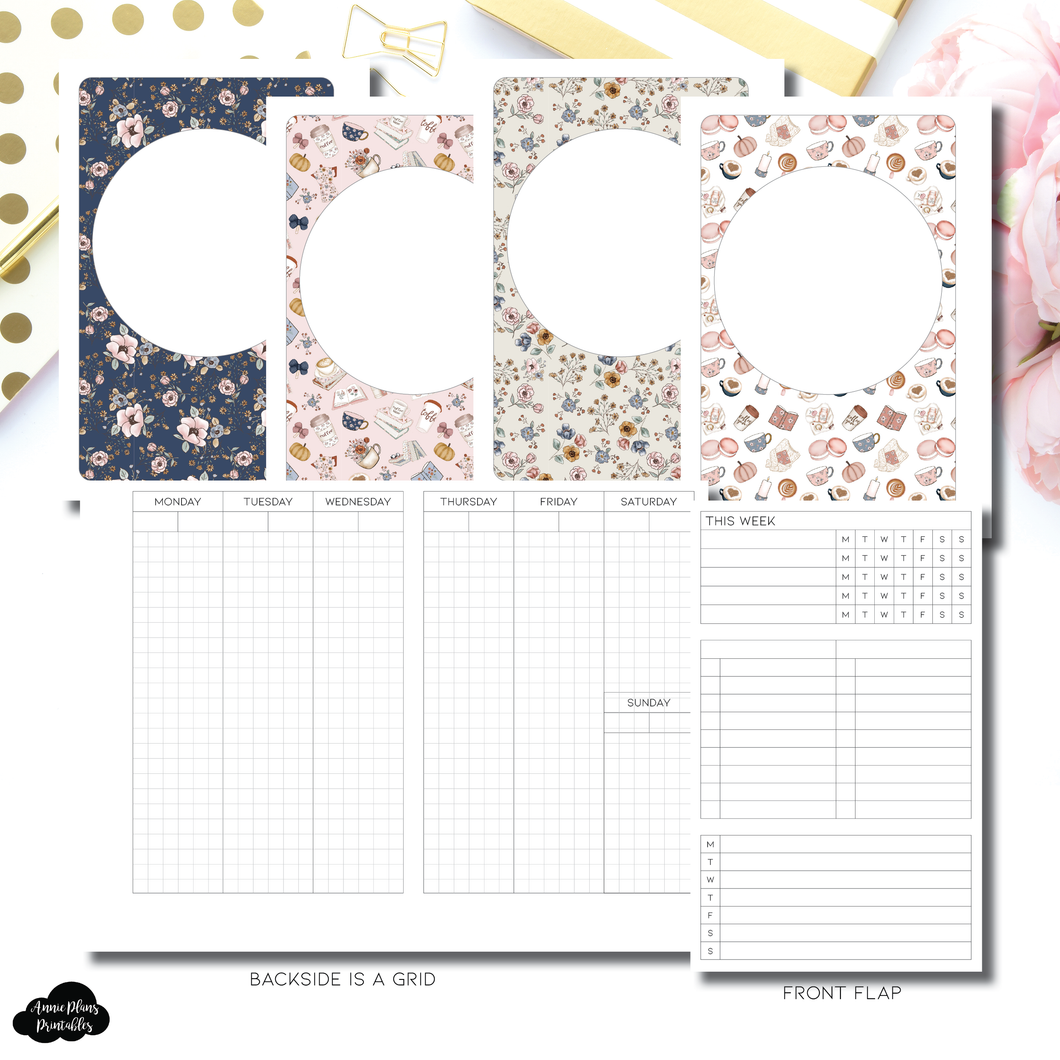 Pocket Plus Rings Size | Vertical Undated Weekly Fold Over for Rings Printable Insert