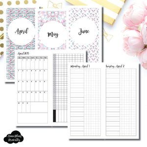 H Weeks Size | 2019 APR - JUN | FULL Month Daily UNTIMED | Printable Insert ©
