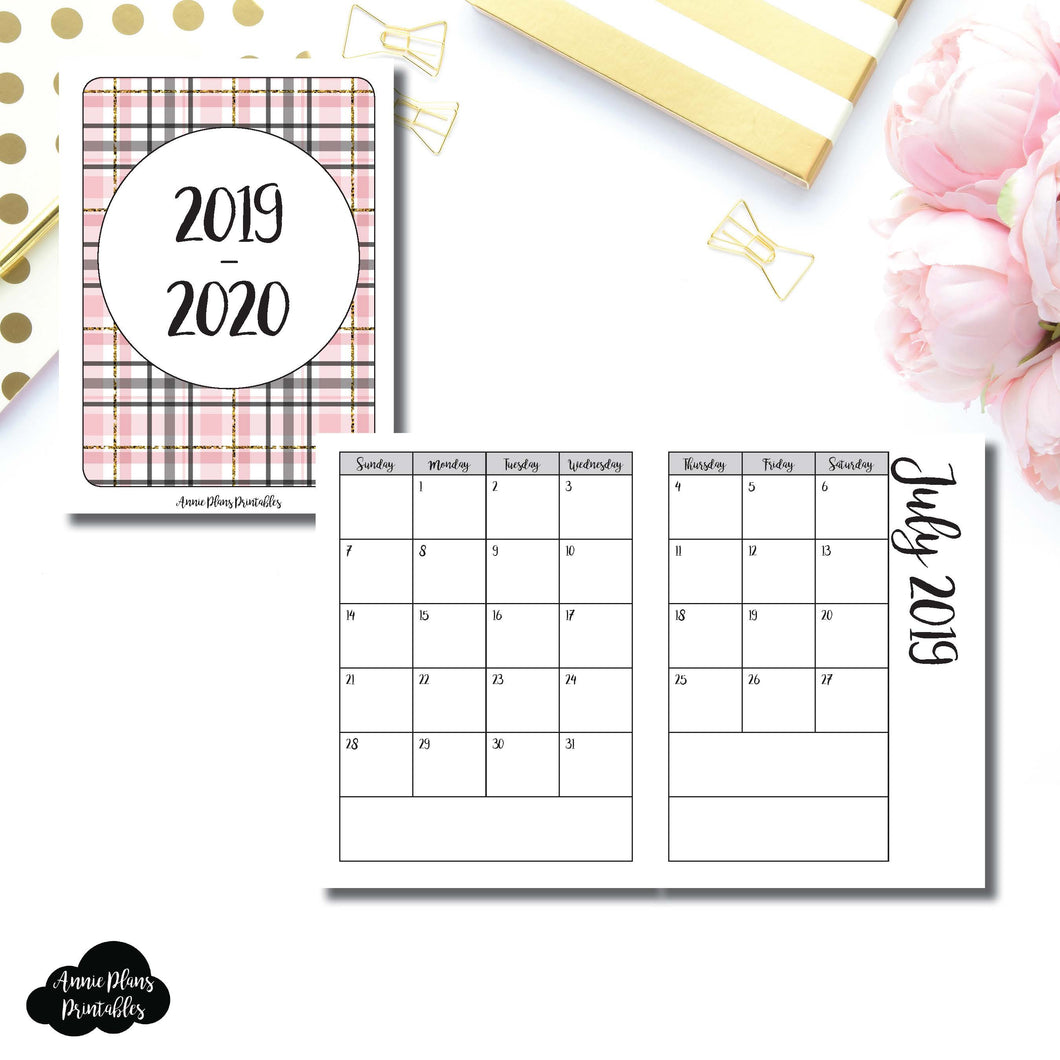 Micro TN Size | 2019 - 2020 Academic Monthly Calendar (SUNDAY Start) PRINTABLE INSERT ©