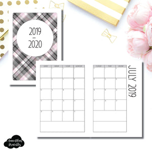 A5 Rings Size | 2019 - 2020 SIMPLE FONT Academic Monthly Calendar (SUNDAY Start) PRINTABLE INSERT ©