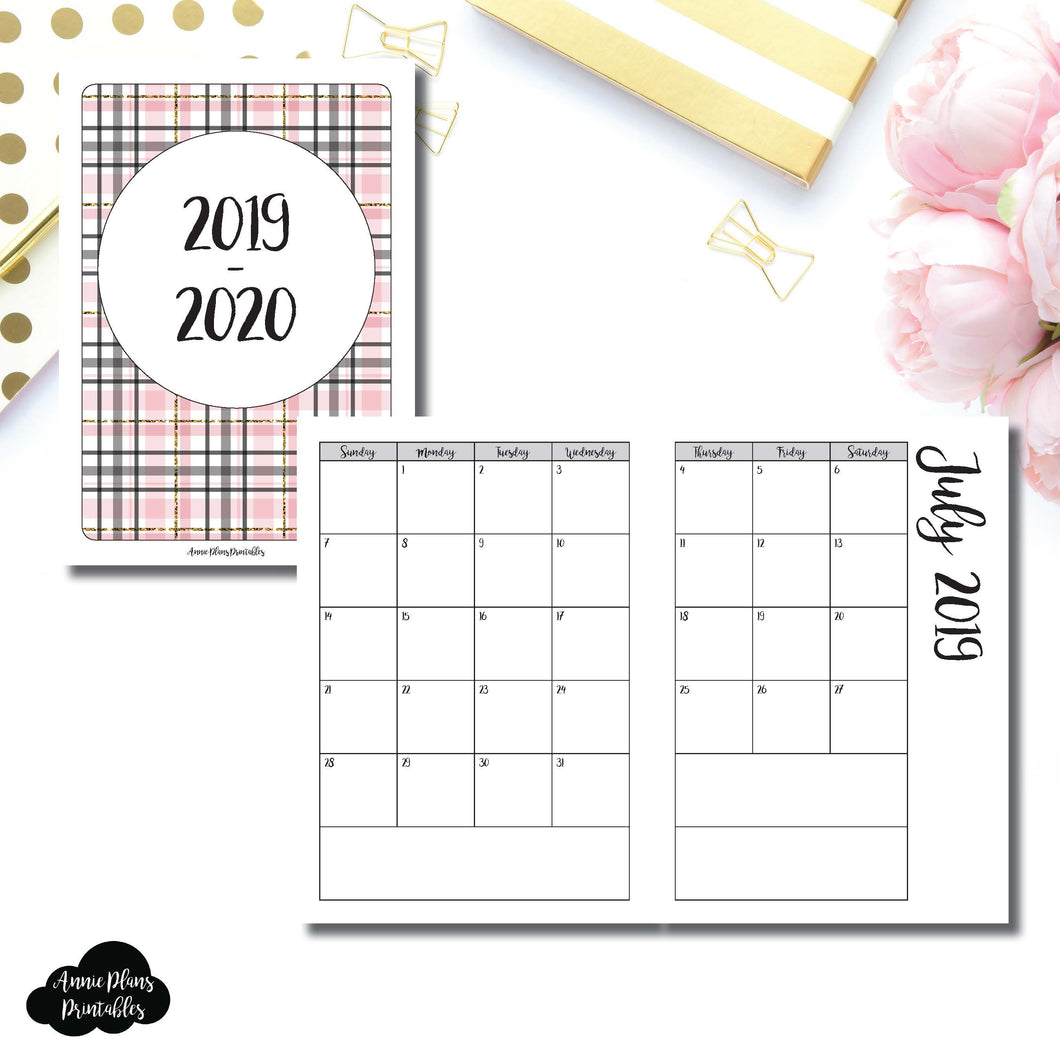 A6 TN Size | 2019 - 2020 Academic Monthly Calendar (SUNDAY Start) PRINTABLE INSERT ©