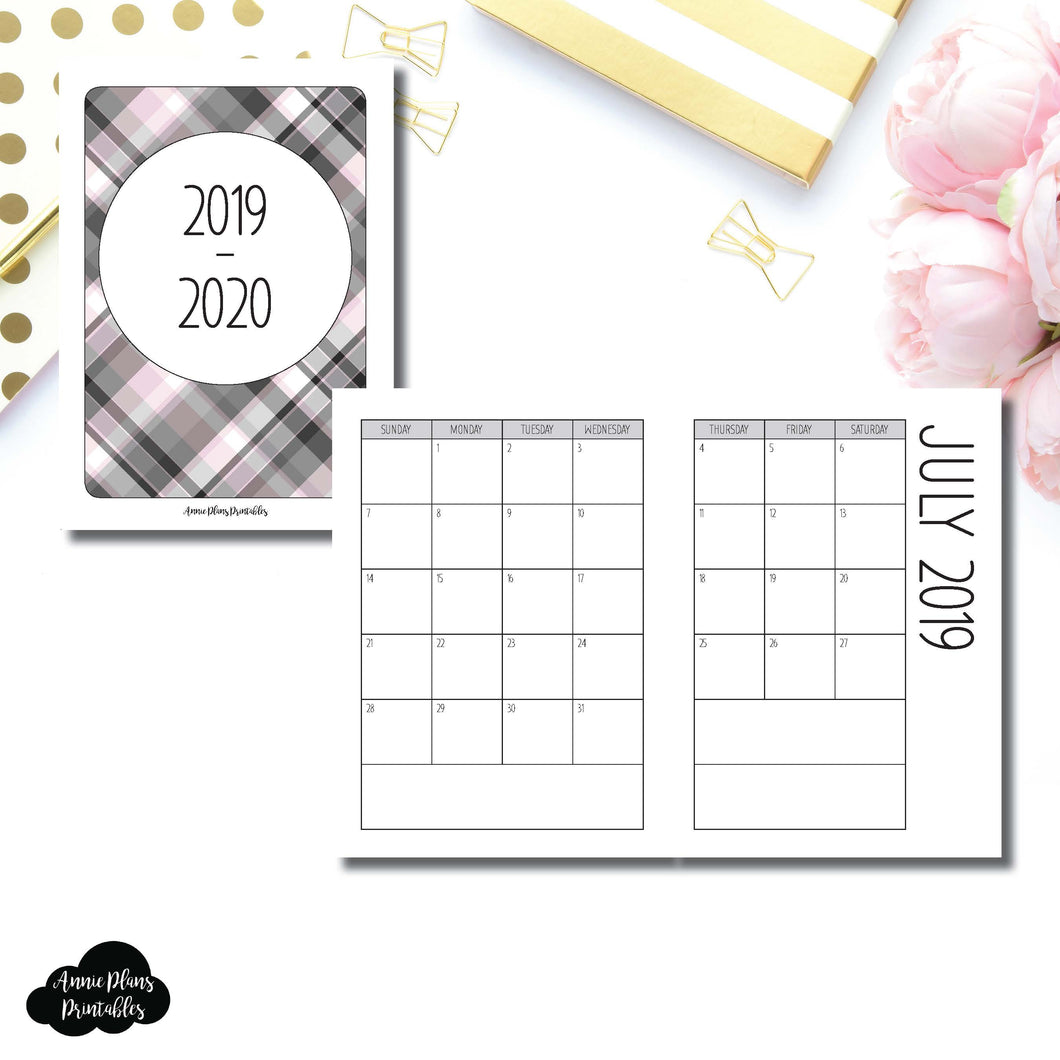 Passport TN Size | 2019 - 2020 SIMPLE FONT Academic Monthly Calendar (SUNDAY Start) PRINTABLE INSERT ©