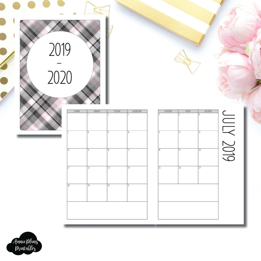 Classic HP Size | 2019 - 2020 SIMPLE FONT Academic Monthly Calendar (SUNDAY Start) PRINTABLE INSERT ©
