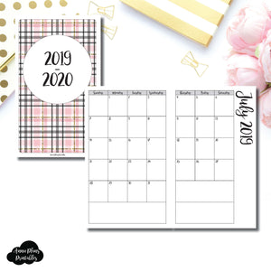 Half Letter Rings Size | 2019 - 2020 Academic Monthly Calendar (SUNDAY Start) PRINTABLE INSERT ©
