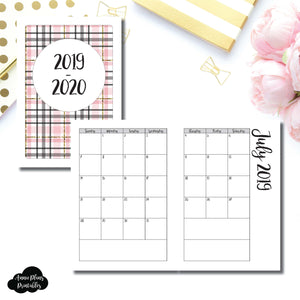 A5 Rings Size | 2019 - 2020 Academic Monthly Calendar (SUNDAY Start) PRINTABLE INSERT ©