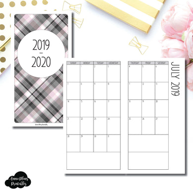 Standard TN Size | 2019 - 2020 SIMPLE FONT Academic Monthly Calendar (SUNDAY Start) PRINTABLE INSERT ©