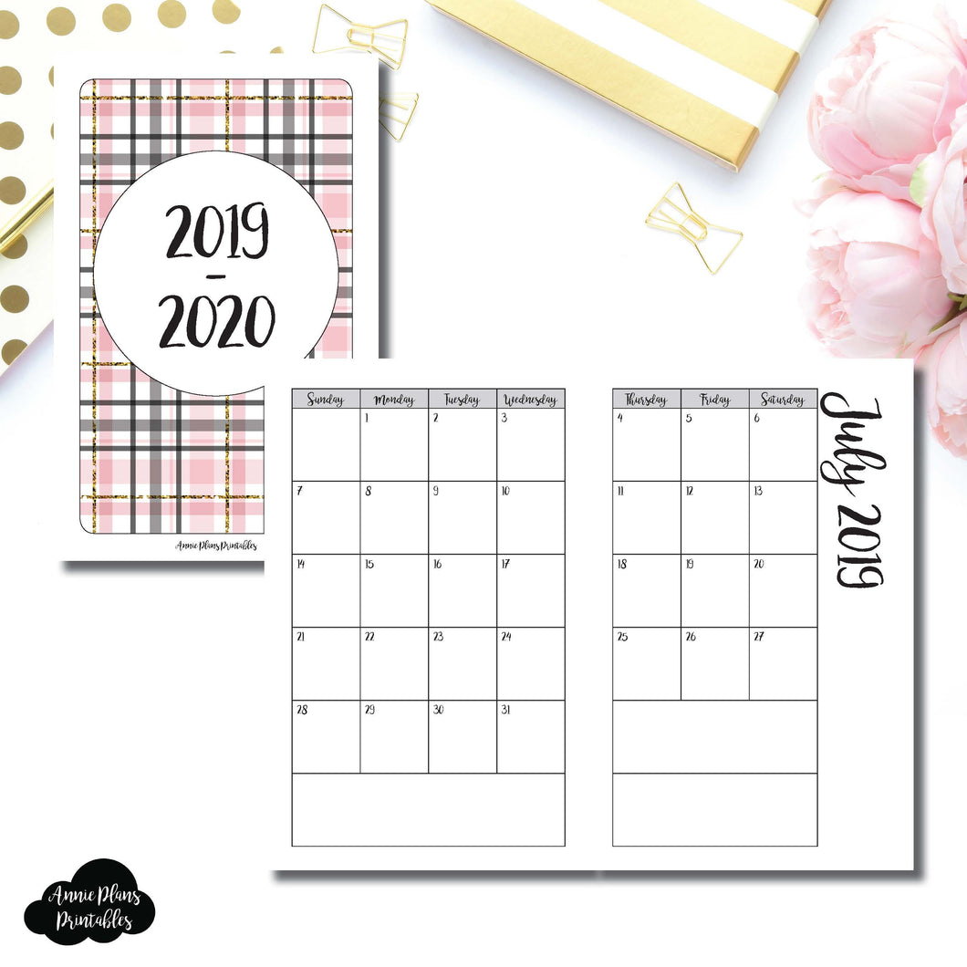 Pocket TN Size | 2019 - 2020 Academic Monthly Calendar (SUNDAY Start) PRINTABLE INSERT ©