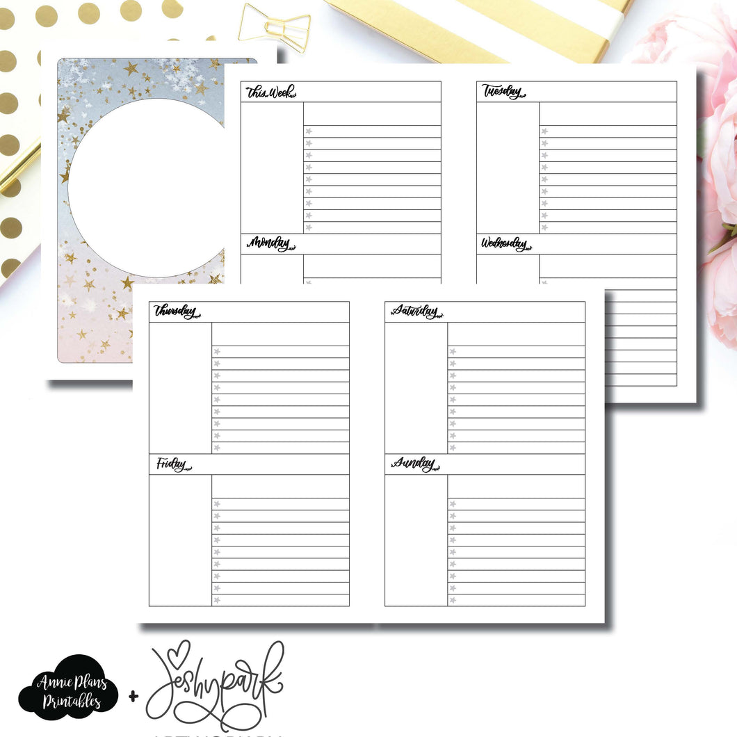 A5 Rings Size | JeshyPark Undated Weekly Collaboration Printable Insert ©