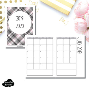 A6 TN Size | 2019 - 2020 SIMPLE FONT Academic Monthly Calendar (SUNDAY Start) PRINTABLE INSERT ©