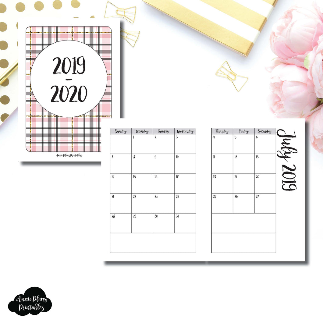 Passport TN Size | 2019 - 2020 Academic Monthly Calendar (SUNDAY Start) PRINTABLE INSERT ©