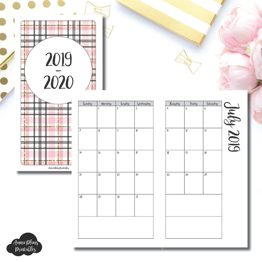 Personal TN Size | 2019 - 2020 Academic Monthly Calendar (SUNDAY Start) PRINTABLE INSERT ©