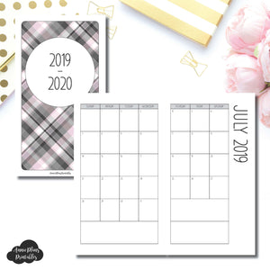 Personal TN Size | 2019 - 2020 SIMPLE FONT Academic Monthly Calendar (SUNDAY Start) PRINTABLE INSERT ©