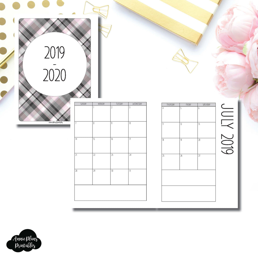 B6 Rings Size | 2019 - 2020 SIMPLE FONT Academic Monthly Calendar (SUNDAY Start) PRINTABLE INSERT ©