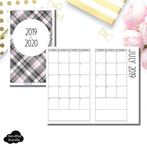Half Letter Rings Size | 2019 - 2020 SIMPLE FONT Academic Monthly Calendar (SUNDAY Start) PRINTABLE INSERT ©