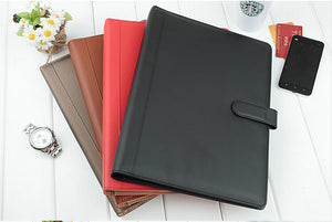 A4 leather business file document folder ring binder holder with card /pen holder clip calculator black 2041 - The GITI Store