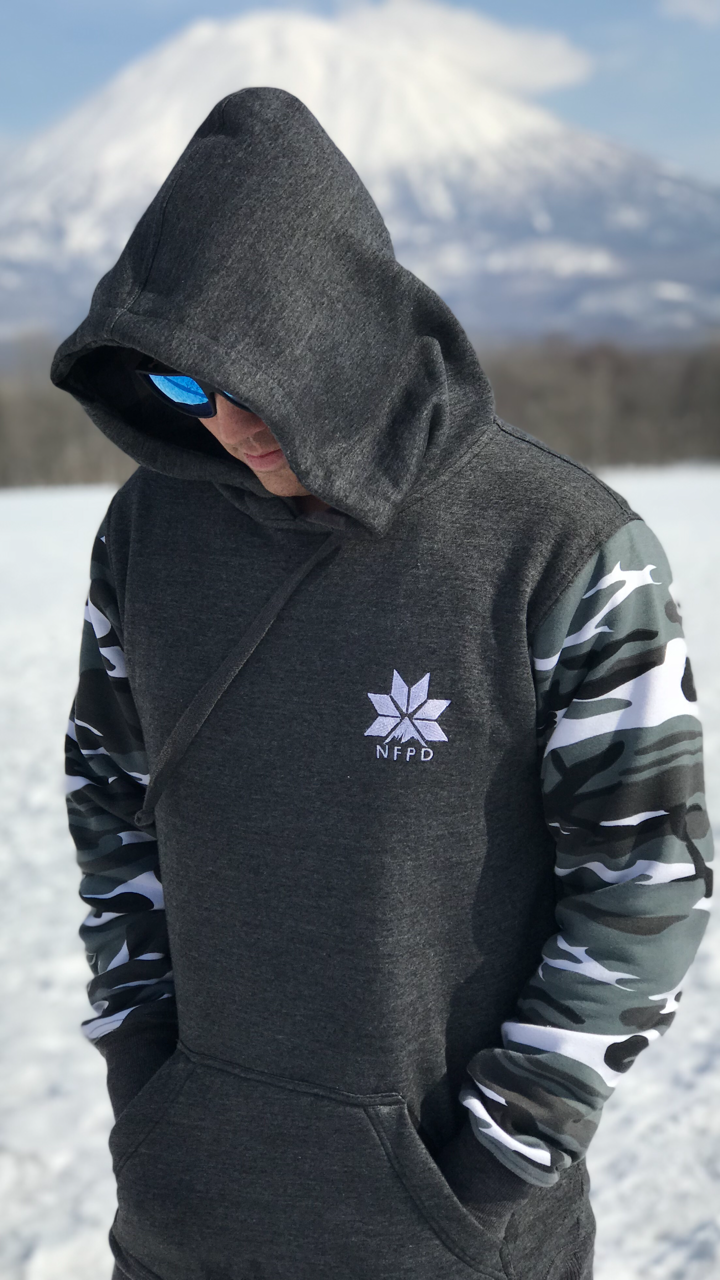 Grey/With Snow Camo Sleeves Tall Hoodie - Unisex (PRE-ORDER ONLY)