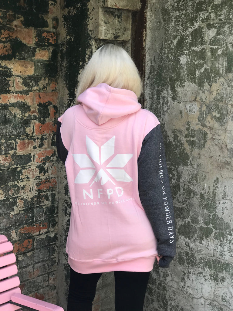 Tall Hoodie Baby Pink & Charcoal - Unisex