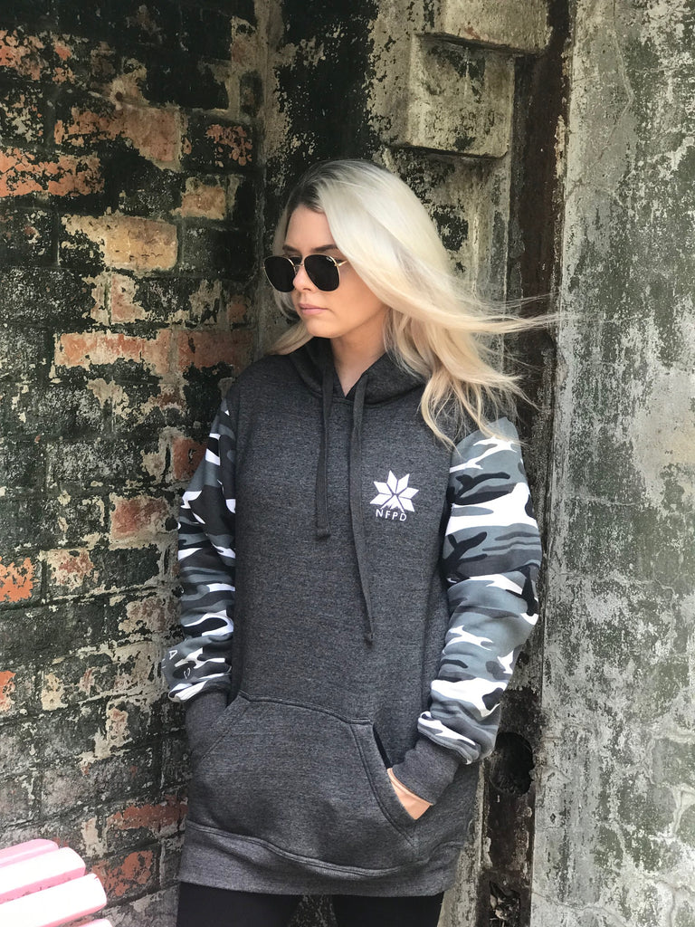 Grey/With Snow Camo Sleeves Tall Hoodie - Unisex